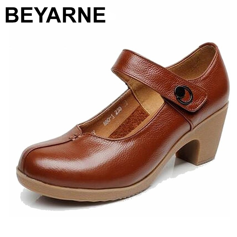 BEYARNE Spring Autumn Shoes Woman 100% Genuine Leather Women Pumps Lady Leather Round Toe Platform Shallow Mouth Shoes телевизор samsung ue49m5550 49 дюймов smart tv full hd серебряный
