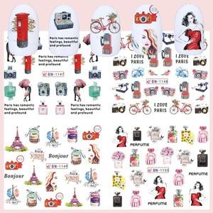 Image 3 - 12 шт. романтические наклейки для дизайна ногтей в Париже, наклейки, Мультяшные Слайдеры для духов на ногтях, обертывания, подвески, украшения для ногтей