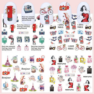 Image 3 - 12pcs Romantic Paris Designs Nail Art Stickers Decals Cartoon Perfume Sliders On Nails Wraps Tip Charms Decoration TRBN1141 1152