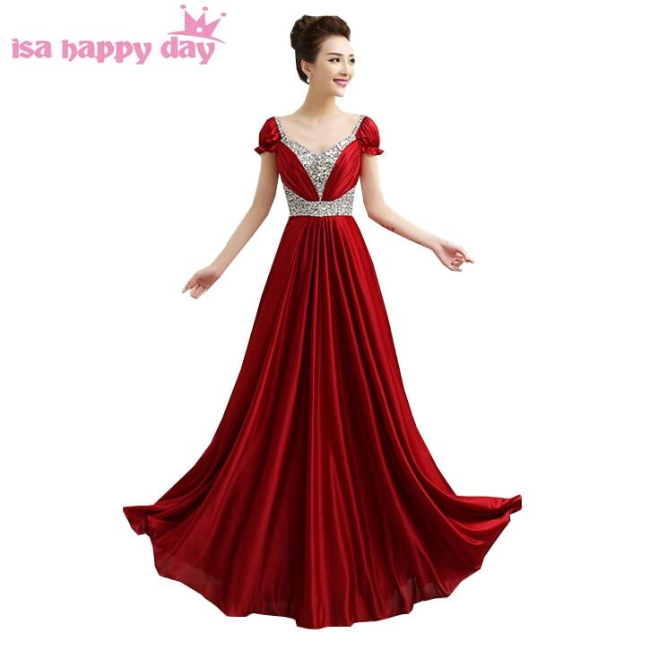 e7979ce03 طويلة عالية أزياء النساء كامل طول النبيذ الأحمر الداكن الحرير الخامس ...