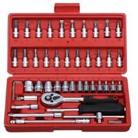 46 pcs Car Repair Tool Sets Combination Tool Wrench Set Batch Head Ratchet Pawl Socket Spanner Screwdriver car repair tool set
