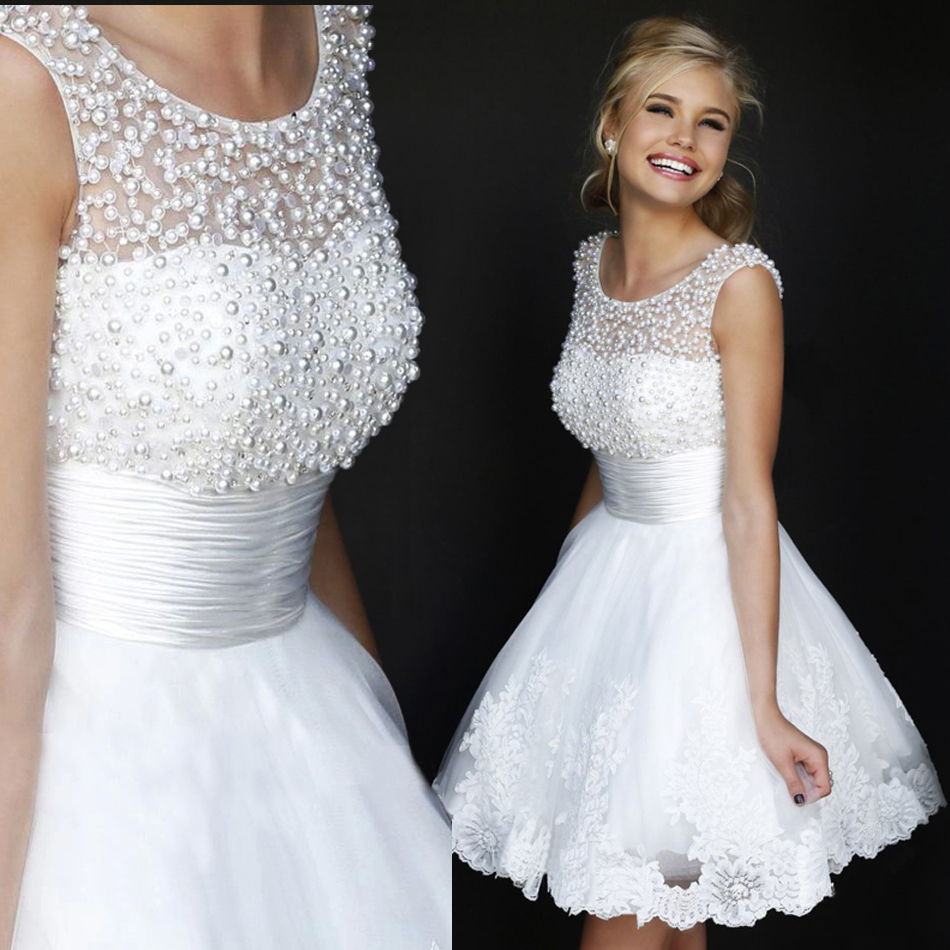 2016 prom gown Cocktail sequin Party dresses sexy pearl beads A Line ...