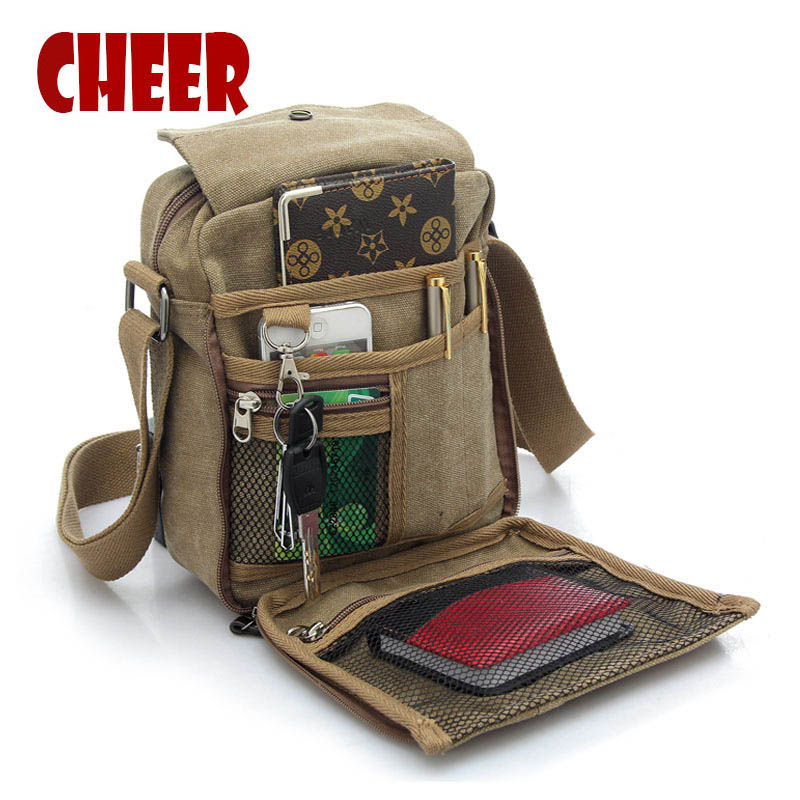 NEW shoulder bag men canvas shoulder messenger bag vintage handbags men crossbody shoulder bags Multi-function phone travel bag