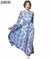 2017 Au Début du Printemps Femmes Robe Europe T gare Défilés Nouveau produit Impression Bleu et blanc porcelaine Pleine Longue Robe