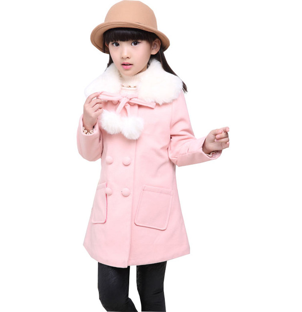 Kids fall and winter clothes for girls woolen coat child student wool coat and long sections thicker coat baby girl clothes