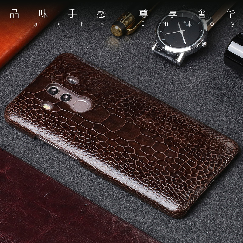 Luxury Natural Ostrich foot skin For Huawei Mate 8 9 10 Pro case Real Genuine leather Cover For P8 P9 P10 lite P Smart Nova 2S - 3
