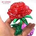 3D стереоскопическая головоломка Роза, светодиодный мигающий объёмный пазл в форме розы, кристаллический 3D пазл, креативная игра для взрослых, симпатичное украшение
