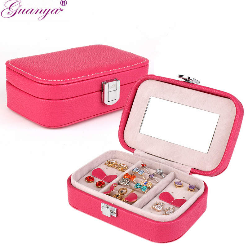 guanya Travel portable leather jewelry box with mirror cosmetic makeup organizer earrings Case ring storage box best gift