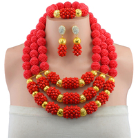 2017 Fashion Women Dubai Gold color Jewelry Sets Red Nigerian Wedding African Jewelry Sets african beads jewelry set