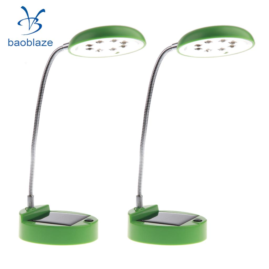 2 Pieces Flexible Gooseneck Style 8 LED Table Lamp Solar / USB Charger Green creative pepper style usb flexible white 7 led light lamp red green