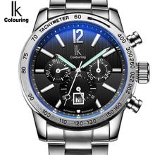 Элитный бренд IK Автоматические механические часы спортивные часы Для мужчин Автопереключение день дата 24 часа Нержавеющая сталь браслет часы Reloj Hombre