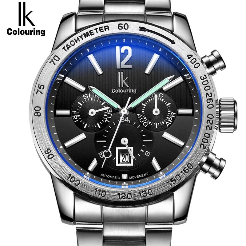 IK Brand Luxury Automatic Mechanical Watches Men 24 Hours Calendar Luminous Silver Full Steel Business Watch Timepieces relojes стоимость