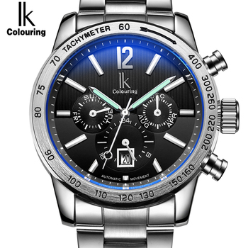Luxury Brand IK Automatic Mechanical Sport Watches Men Auto Day Date 24-Hour Stainless Steel Bracelet Timepieces Reloj Hombre
