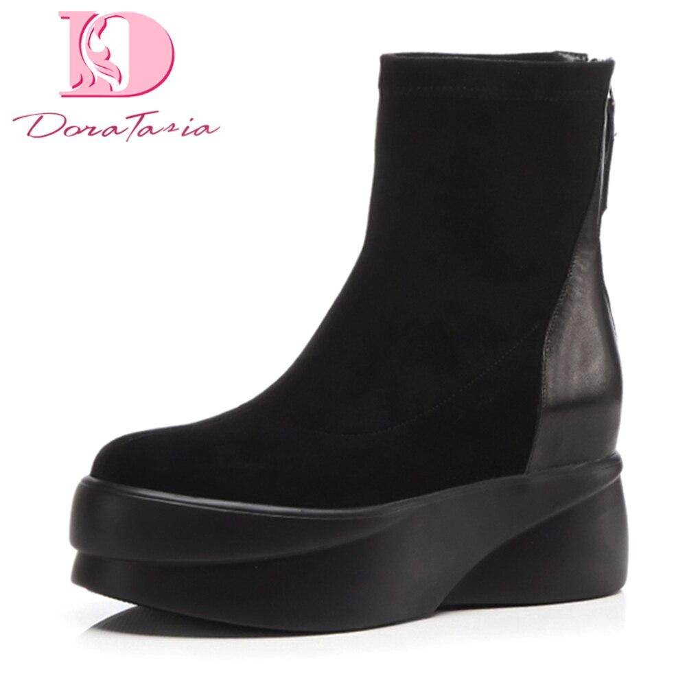 De Zip Cuero Tacones Tobillo Genuino Venta Negro 34 Mujer Talla Botas Zapatos Caliente Up 39 Doratasia Crecientes dq0wIwE