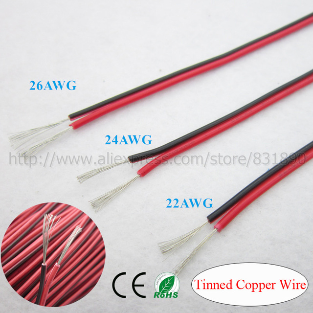 Aliexpress.com : Buy 20m led wire 2p tinned copper cable 22AWG 24AWG ...