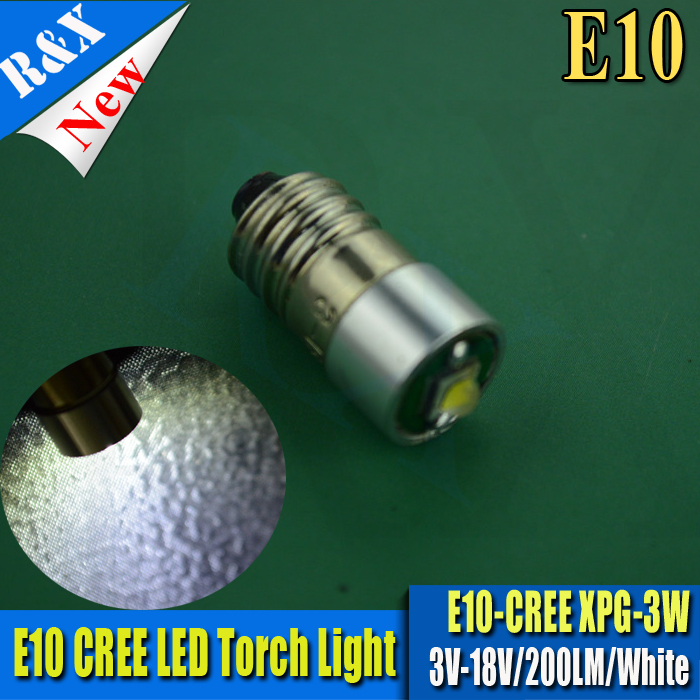 1X <font><b>E10</b></font> 3V-18V CRE White warm white 200lm 3W <font><b>led</b></font> Flashlight Replacement bulb Gauge Torch Lantern Work Light white