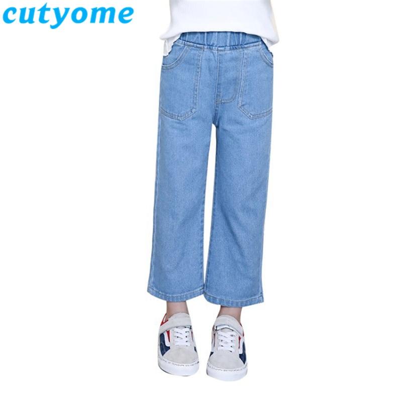 Light Blue Teenager Girls Wide Leg Jeans 2019 Spring Autumn Children Casual Solid Streetwear Denim Pants Kids Trousers 7/8 12 13 1