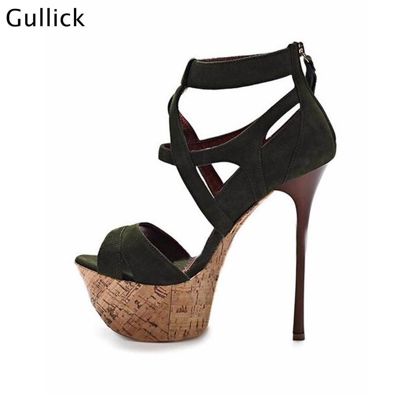 2018 New Arrival Suede Leather Thin High Heel Sandals High Platform Wood Sole Open toe Cross Strap Gladiator Shoes For Women free shipping women summer newest open toe straps cross high heel sandals orange suede leather thin heel dress shoes