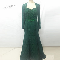 Green Long Sleeve Evening Dresses Gowns Winter Sequined Mermaid Mother of the Bride Lace Dress Plus Size Vestidos de Festa