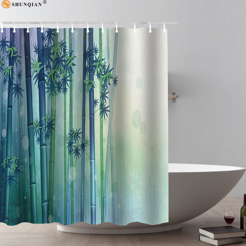 shunqian zen stone custom shower curtain bath curtain bamboo, candle, orchid flower,plant