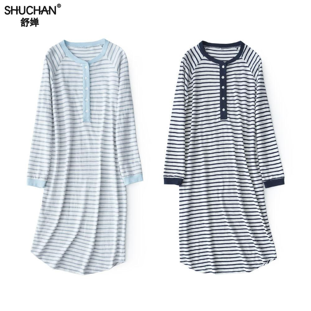 Shuchan Striped Sleepwear Nightdress Long Sleeve Nightgown Cotton 70% Hot Sleep Dress New Items Blue Sleepwear Soft 8822