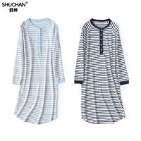 Shuchan Striped Sleepwear Nightdress Long Sleeve Nightgown Cotton 70% Hot Sleep Dress New Items Blue Sleepwear Soft 8822