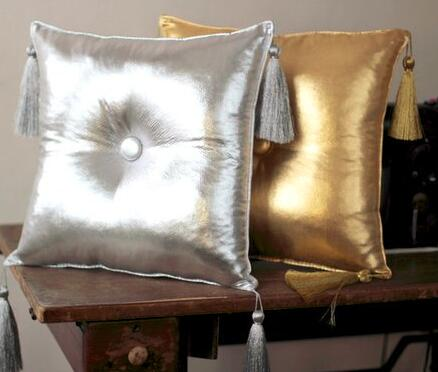 Silver & Gold Tassel Pillow Cushion With Filling Waist Pillow Car Sofa Bedding Room Home Dec Wholesale Wholesale FG1028