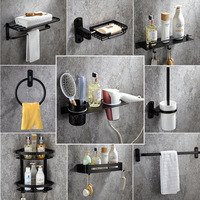 Black Hardware Bathroom Kit Space Aluminum Spray Painting Bathroom Accessories Towel Bar Towel Ring Soap Dish Bathroom Shelf