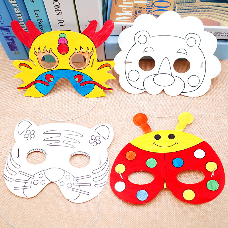 2Pcs/Lot Cartoon Animals Graffiti Mask Toys Kids Blank Mask Kindergarten DIY Painting Masks Party Decoration Handmade Craft Toys