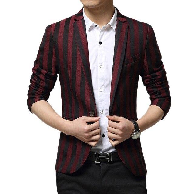2015 Homens Novos da Chegada Prevista Terno Design de Moda Listrado Preto Vermelho do baile de Finalistas Ternos do casamento Para Homens Homens Marca Casuais Jaqueta Blazer Terno Xxxl