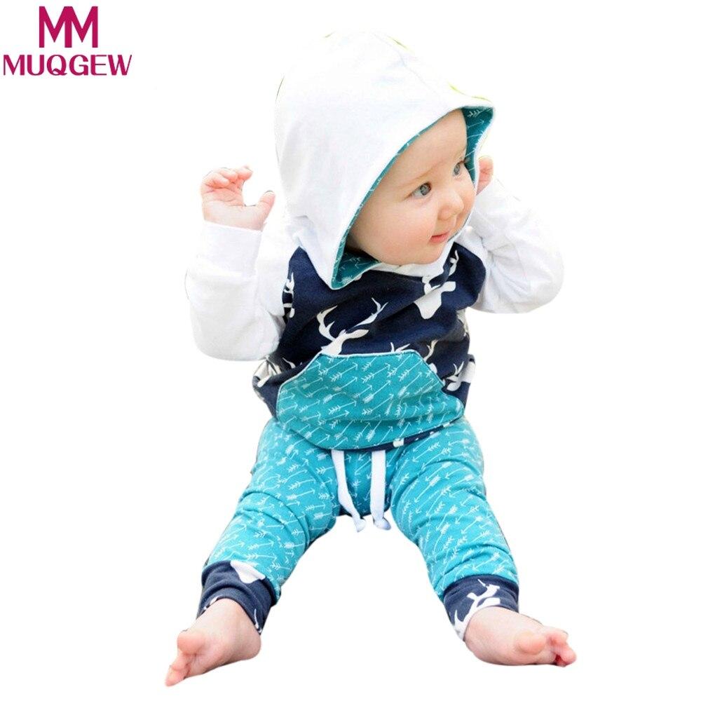 MUQGEW Baby Boy Girl Outfits Clothes Set Of Deer Arrow Hoodie Tops+Pants roupa infantil menina Children Infant sports suit