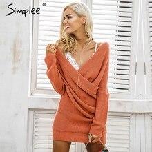 Simplee Sexy V neck cross knitting sweater dress Women elegant long sleeve pullover female winter dress