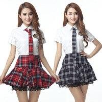 Mangas curtas Sailor Uniforme Escolar Japonês Menina Vestido Vermelho/Tibetano Azul Saia Xadrez Uniformes Trajes Japonais Coreano Para A Menina