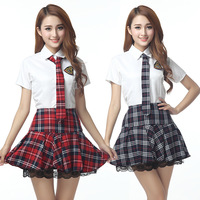 Sweet Temptation Short Sleeves Japanese School Uniforms Girl Sailor Red Plaid And Tibetan Blue Plaid Skirt