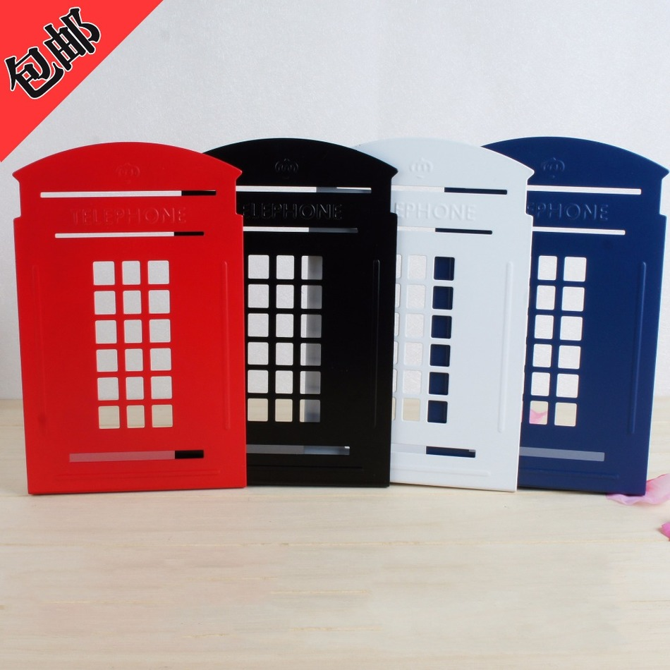 Creative metal book clip book stand London telephone booth iron bookends Korean cartoon stationery A pair of price creative book shaped wired telephone deep blue