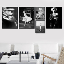 Wall Art Canvas Painting Marilyn Monroe Vintage Photo Nordic Posters And Prints Black White Pictures For Living Room Decor
