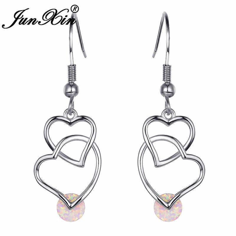 JUNXIN Trendy Doppel Herz Gekreuzte Lange Tropfen Ohrringe Für Frauen 925 Silber Rose Gold Gefüllt Runde Weiß Blau Feuer Opal ohrringe