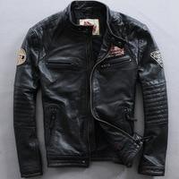 2017 New Vintage Men's Genuine Motorcycle Leather Jacket Punk Fashion Cowhide Bomber biker Men Winter Coats M-XXXXL