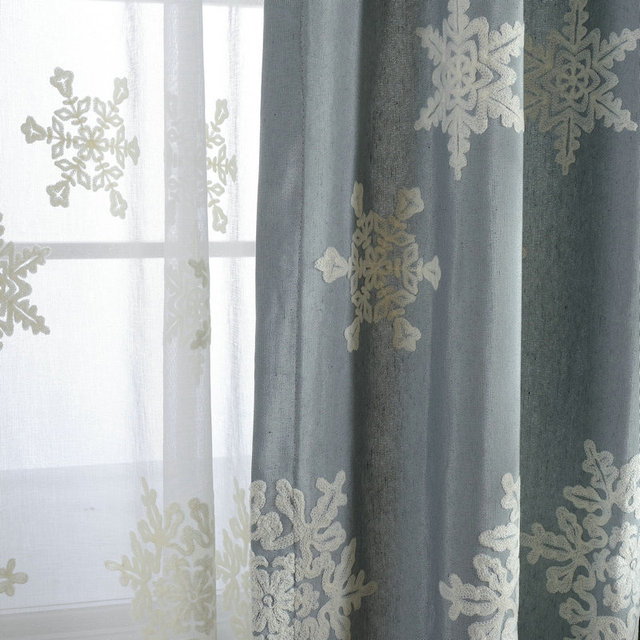 Blackout Curtains For Living Room Blinds D Snowflake Embroidered Cotton Curtain Bedroom Window Treatments Panel Shade