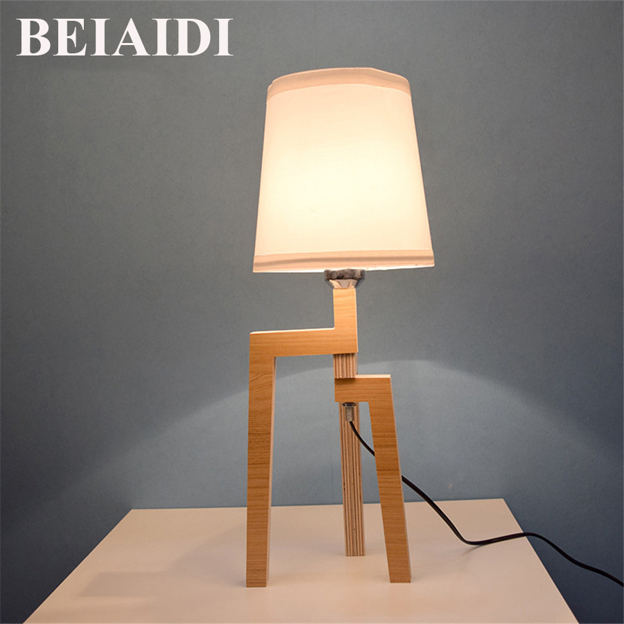 BEIAIDI 5W Modern Wooden Table Lamp With Fabric Lampshade Wood Bedside Desk lights With E27 Bulb For Children Reading Studying botimi wooden table lamp with fabric lampshade bedside desk lights lamparas de mesa book lamps deco luminaria reading lighting