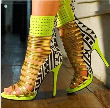 Fashion Neon Green Yellow Fluorescein Mixed Colors Sandal