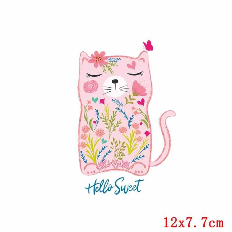 Nicediy Eisen auf Transfers Für Kleidung T-Shirt Schöne Katze Tier Patches Herz Transfers Aufkleber Für Mädchen Kinder DIY Kleidung Abzeichen