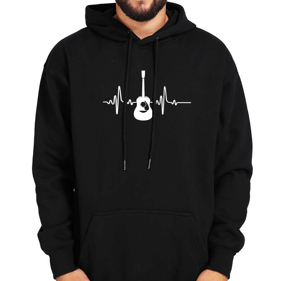 Guitar Hoodies Music Creative Graphic Sweatshirt Men Black Long Sleeve Tops Plus Velvet Winter Clothes