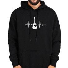 Guitarra hoodies música criativa gráfico moletom masculino preto manga longa topos mais veludo roupas de inverno