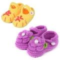 2 pares de Punto Zapatos Del Niño Del Bebé Primeros Caminante Rosa de Punto Botines Del Bebé Recién Nacido de La Muchacha Zapatos para 0-10meses 10 cm