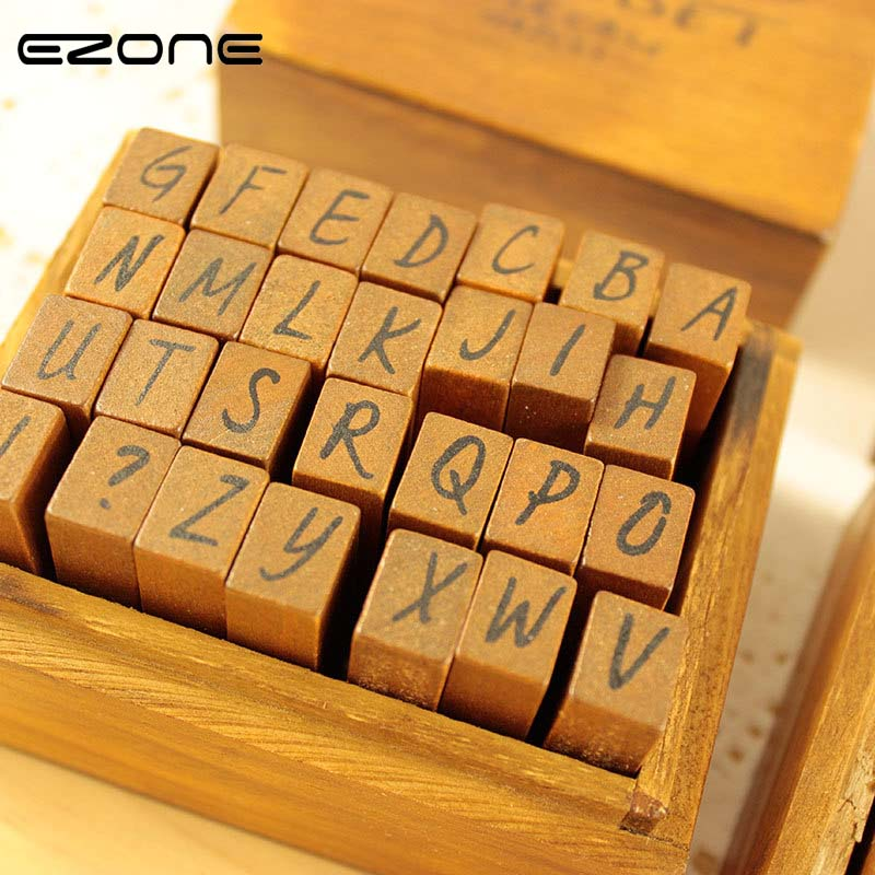 EZONE 1PC Wooden Vintage Rubber Alphabet Letter Stamps DIY Cursive Stamper Seal Set Capital Upper Lower Case Wooden Box Gift wooden cartoon vintage antique stamps flower corner seal 7pc 2 ink pen set diary carved decro diy gift craft cn post