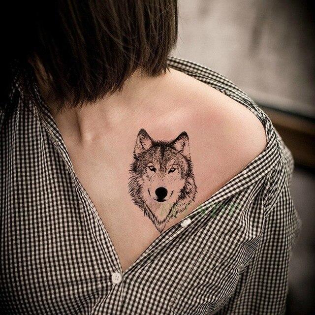 044 Tatuaje Temporal Impermeable Pegatina Animal Lobo León águila Tatto Flash Tatuo Mano Muñeca Pie Brazo Cuello Falso Tatuajes Para Hombres