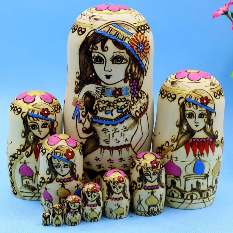 Mnotht 10 couches beauté russe poupée peinte à la main Basswood sec mode Matryoshka poupée jouets cadeau L30