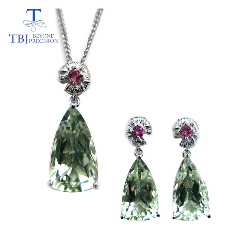 TBJ Jewelry set pendant and earring with shinning green amethyst and tourmaline in 925 silver for
