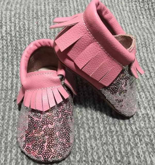2016 New arrived pink with sequine bling moccasins soft soled leather Prewalker Princess Toddler Kids  Baby Cute Tassel shoes